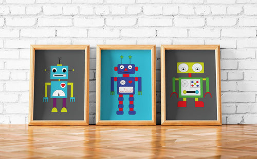 Set of 3 Robot Prints Wall Art, Poster, Print - Shadow bright