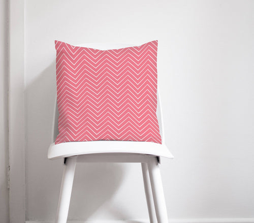 Pink Cushion with a White Chevron Design, Throw Pillow - Shadow bright