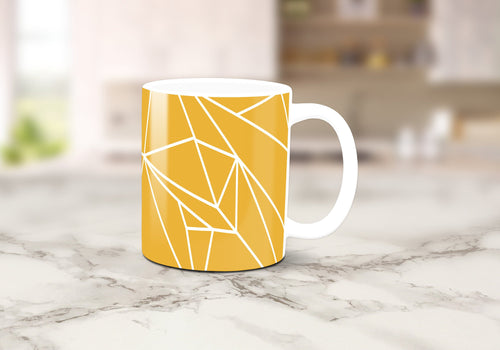 Yellow Mug with a White Lines Geometric Design, Tea or Coffee Cup - Shadow bright