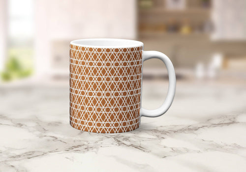 Copper Mug with a White Lines Geometric Design, Tea or Coffee Cup - Shadow bright