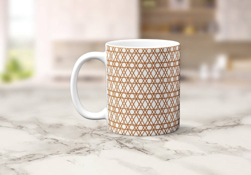 White Mug with a Copper Geometric Lines Design, Tea or Coffee Cup - Shadow bright