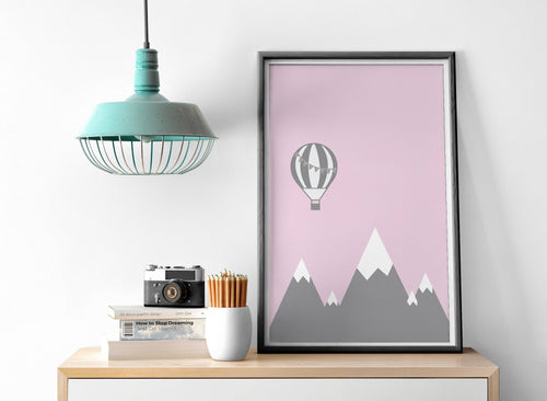Pink Hot Air Balloon Design Wall Art, Poster, Print - Shadow bright