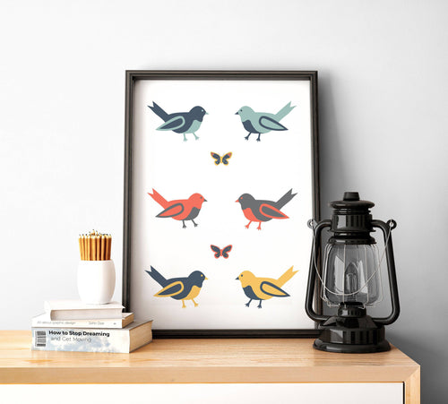 White Background with Multicoloured Birds Wall Art, Poster, Print - Shadow bright