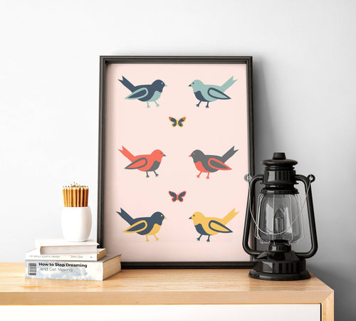 Pink with Multicoloured Birds Design Wall Art, Poster Print - Shadow bright