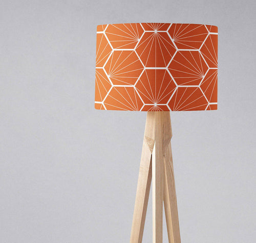 Orange Lampshade with a White Hexagon Design, Ceiling or Table Lamp Shade - Shadow bright