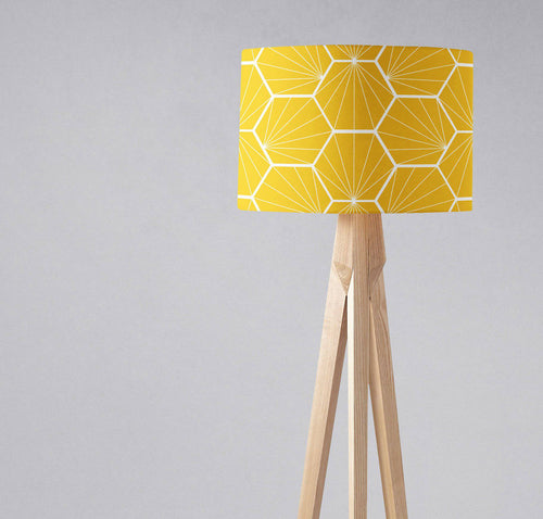 Yellow Lampshade with a White Hexagon Design, Ceiling, Table Lamp Shade - Shadow bright