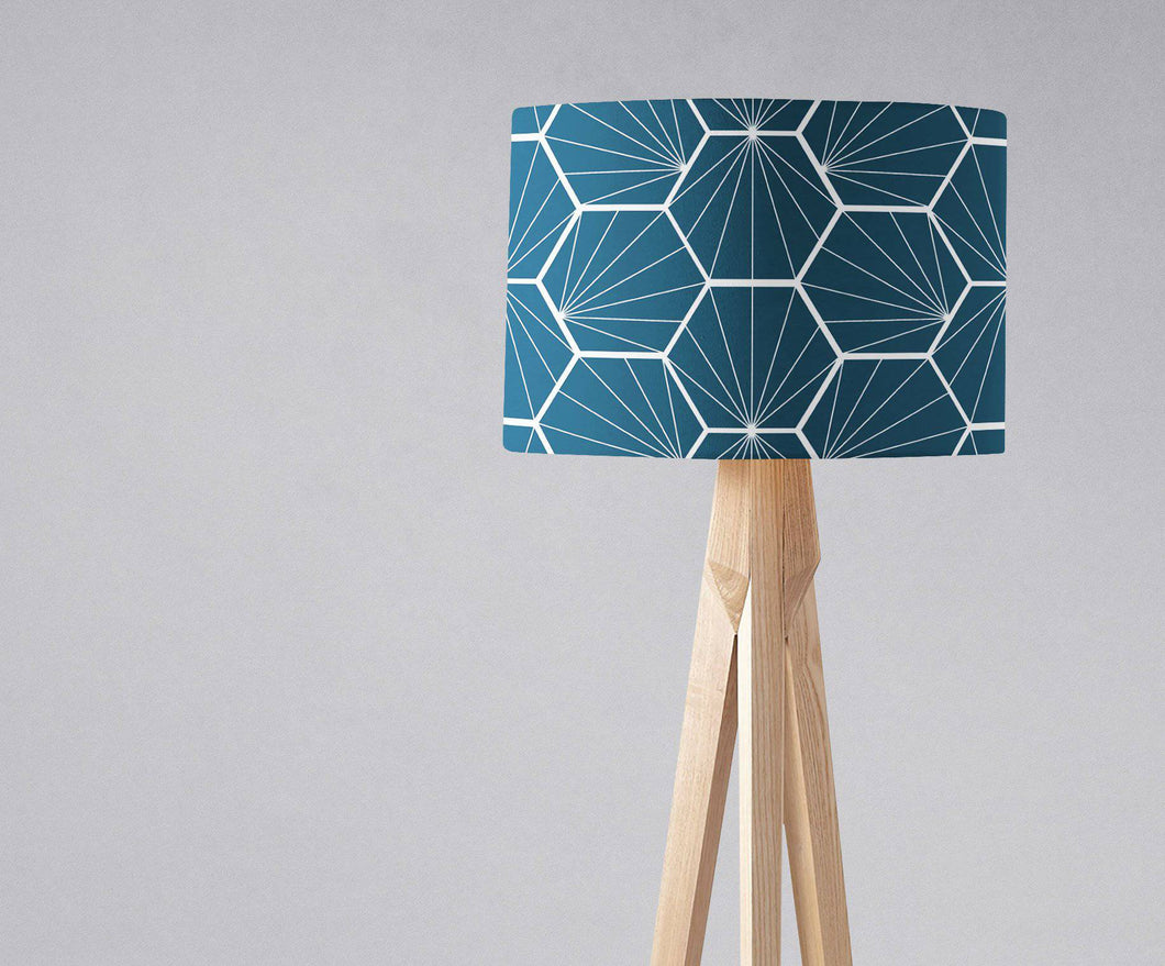 Peacock Blue Lampshade with a White Hexagon Design, Ceiling  or Table Lamp Shade - Shadow bright