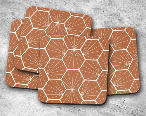 Hazel Coasters with a White Hexagon Design, Table Decor Drinks Mat - Shadow bright