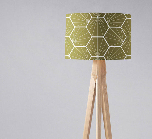 Olive Green Hexagon Design Geometric Lampshade, Ceiling or Table Lamp Shade - Shadow bright