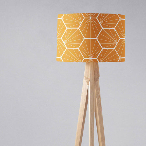 Butterscotch Yellow Geometric Hexagons Lampshade, Ceiling or Table Lamp Shade - Shadow bright