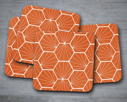 Orange Coasters with a White Hexagon Design, Table Decor Drinks Mat - Shadow bright