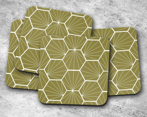 Olive Green Coasters with a White Hexagon Design, Table Decor Drinks Mat - Shadow bright