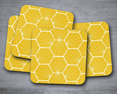 Yellow Coasters with a White Hexagon Design, Table Decor Drinks Mat - Shadow bright