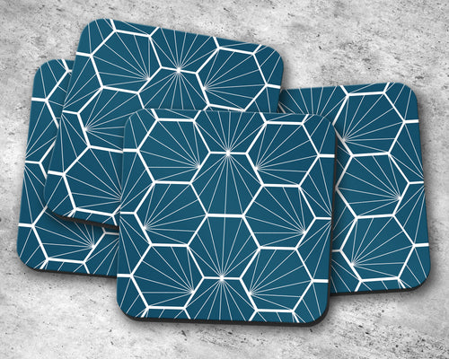 Peacock Blue Coasters with White Hexagon Design, Table Decor Drinks Mat - Shadow bright