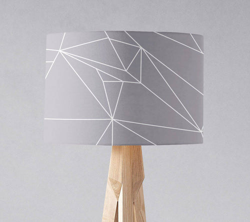 Grey with a White Lines Geometric Design Lampshade, Ceiling or Table Lamp Shade - Shadow bright