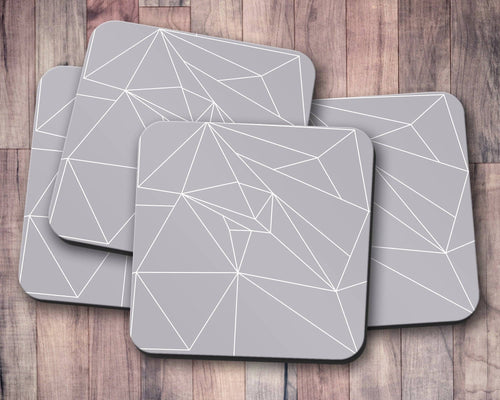 Grey Coasters with a White Lines Geometric Design, Table Decor Drinks Mat - Shadow bright