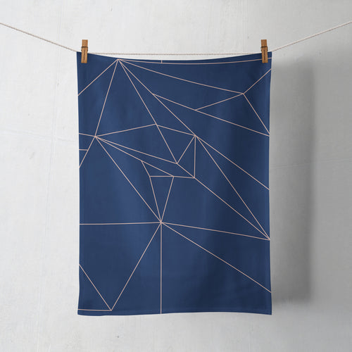 Navy Blue with Rose Gold Lines Geometric Design Tea Towel, Dish Towel Kitchen Towel - Shadow bright