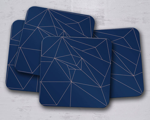 Navy Blue with Rose Gold Lines Geometric Design Coaster, Table Decor Drink Mat - Shadow bright