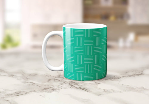 Green and White Lines Geometric Mug, Tea or Coffee Cup - Shadow bright