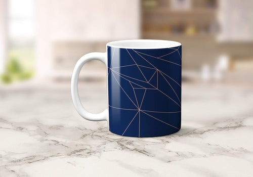 Navy Blue and Rose Gold Lines Geometric Mug, Tea or Coffee Cup - Shadow bright