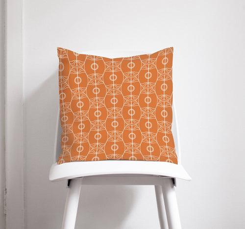Orange and White Art Nouveau Design Cushion, Throw Pillow - Shadow bright