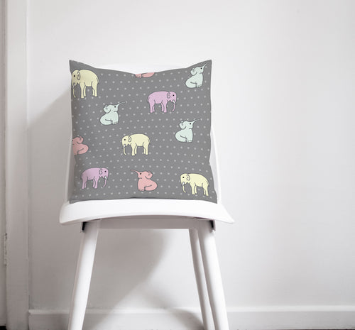 Grey Cushion with Multicoloured Elephants Design, Throw Pillow, Sofa Pillow - Shadow bright