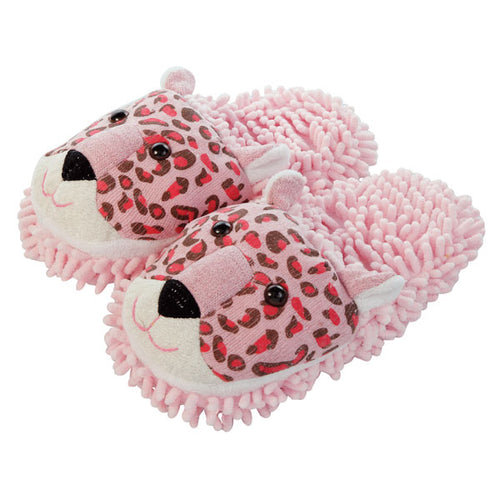 Aroma Home Fuzzy Friends Slippers Pink Leopard
