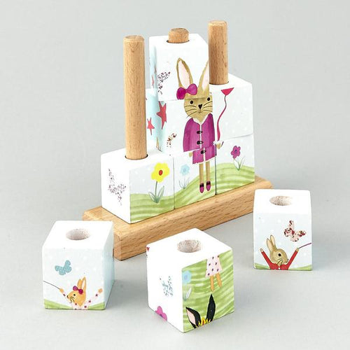 Floss & Rock Bunny Wooden Cube Puzzle
