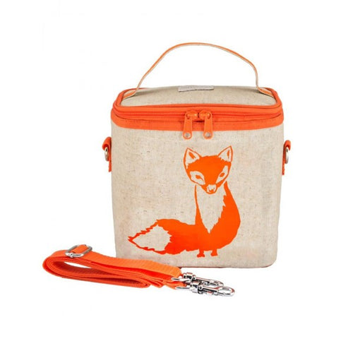 SoYoung Eco Linen Large Cooler Lunch Bag Orange Fox
