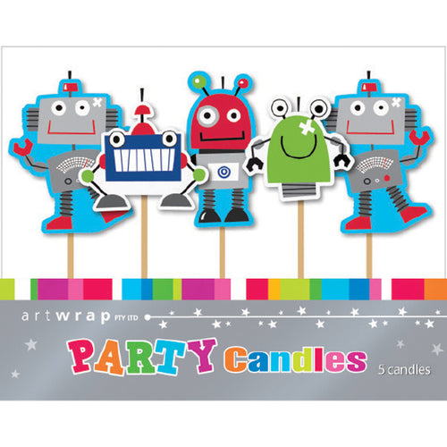 Art Wrap Cheeky Robots Party Candles