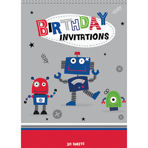 Art Wrap Cheeky Robots Party Invitations 20 Sheets