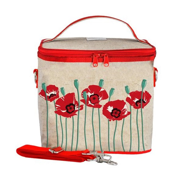 SoYoung Eco Linen Large Cooler Lunch Bag Red Poppy