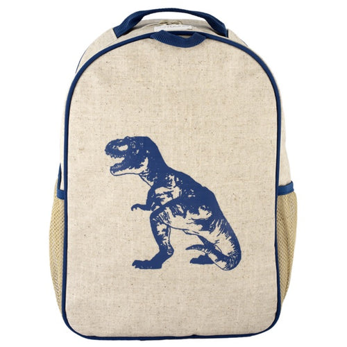 SoYoung Eco Linen Toddler Backpack Blue Dino