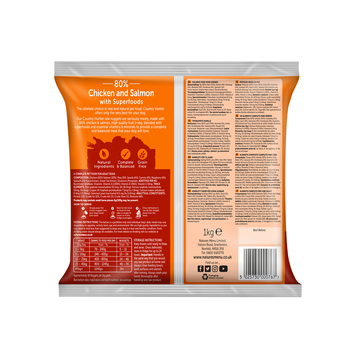 Natures Menu Country Hunter Raw Nuggets Chicken and Salmon For Dogs 1kg