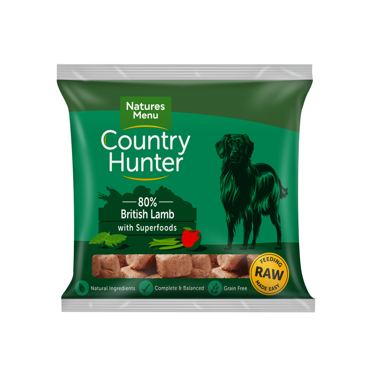 Natures Menu Country Hunter Raw Nuggets British Lamb For Dogs 1kg