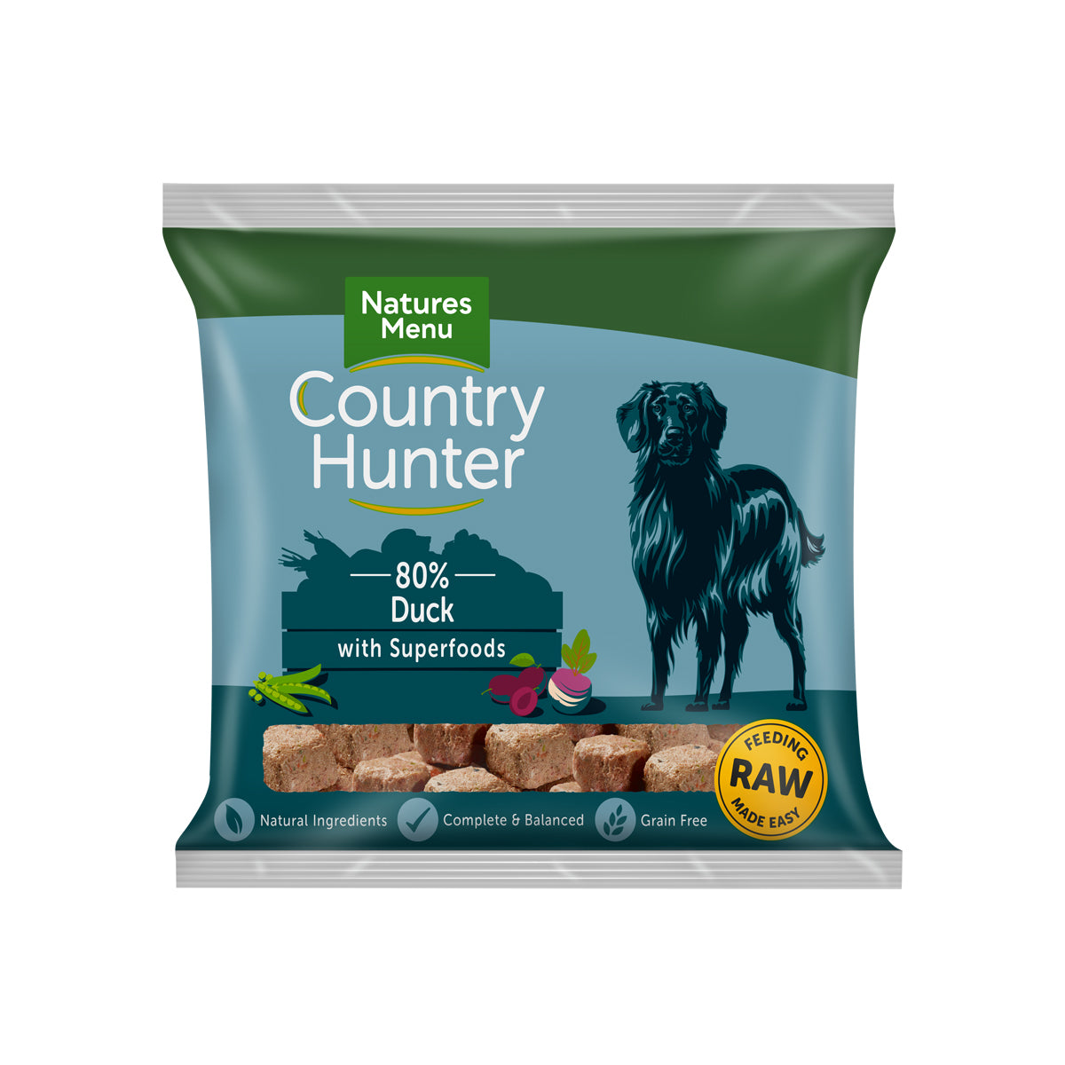 Natures Menu Country Hunter Raw Nuggets Succulent Duck For Dogs 1kg
