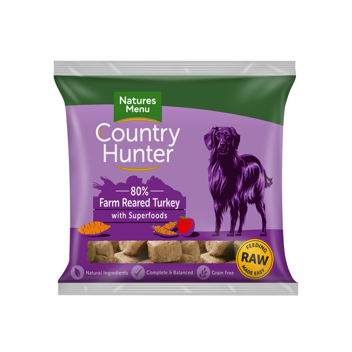 Natures Menu Country Hunter Raw Nuggets Farm Reared Turkey For Dogs 1kg