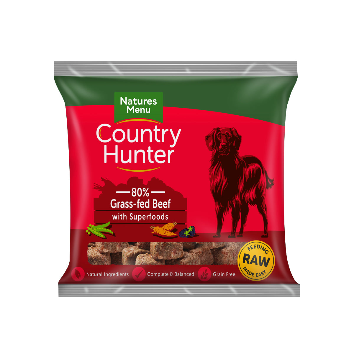 Natures Menu Country Hunter Raw Nuggets Grass Fed Beef For Dogs 1kg