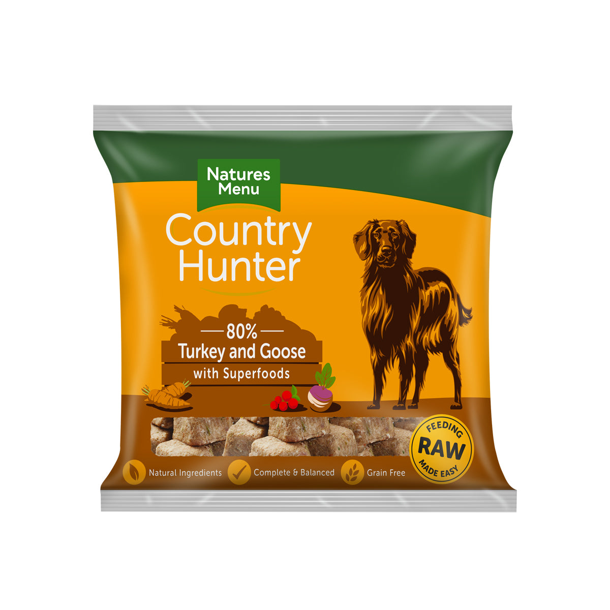 Natures Menu Country Hunter Raw Nuggets Turkey And Goose For Dogs 1kg