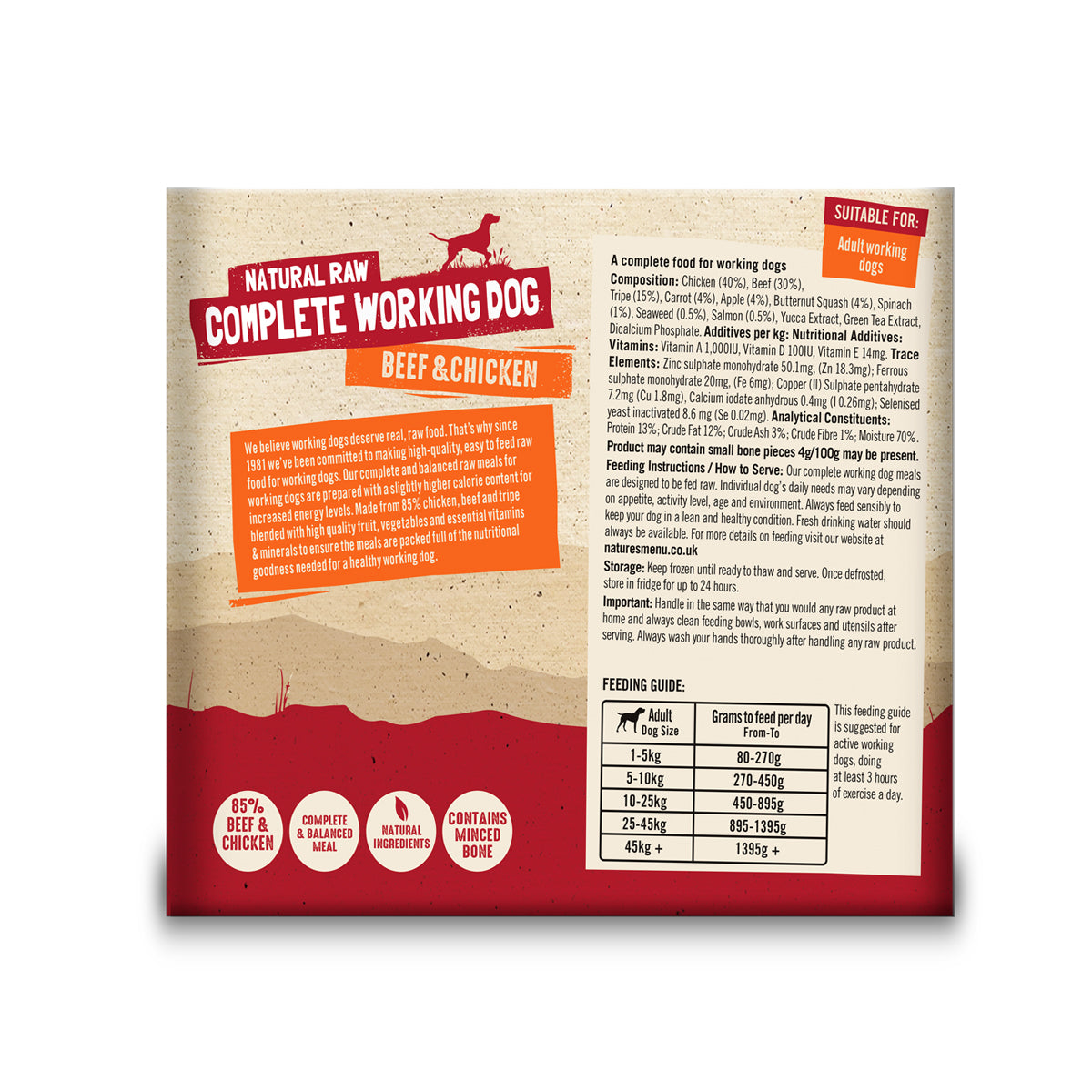 Natures Menu Working Dog Beef & Chicken Raw Dog Food 2x500g