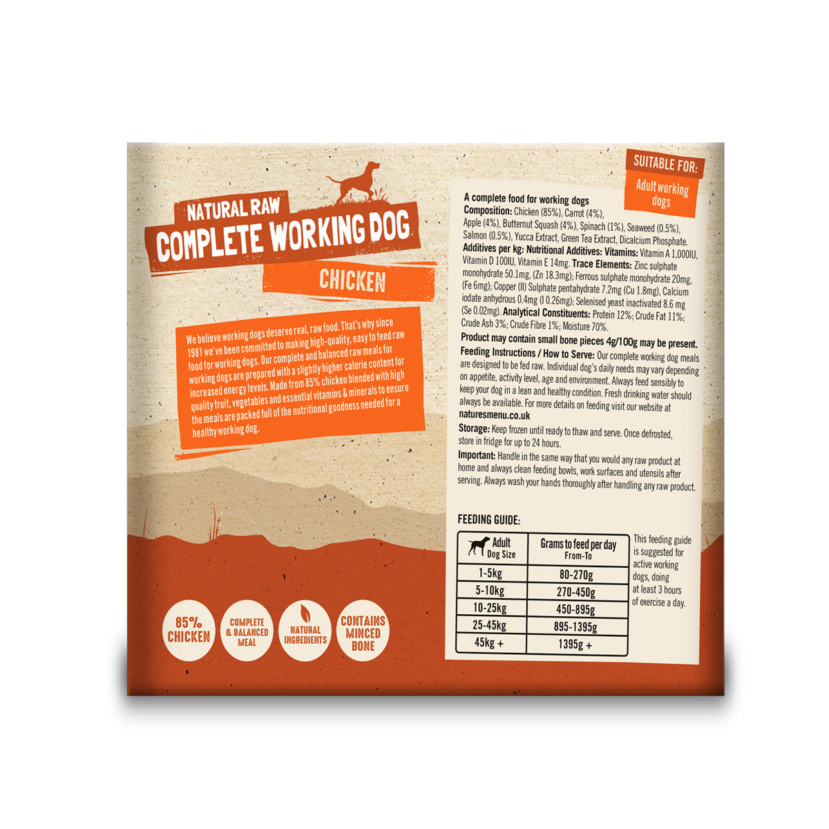 Natures Menu Working Dog Chicken Raw Dog Food 2x500g