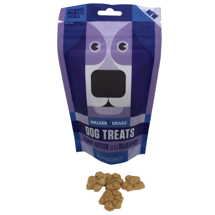 Walker and Drake Peanut Butter & Blueberry Dog Treats - 100g