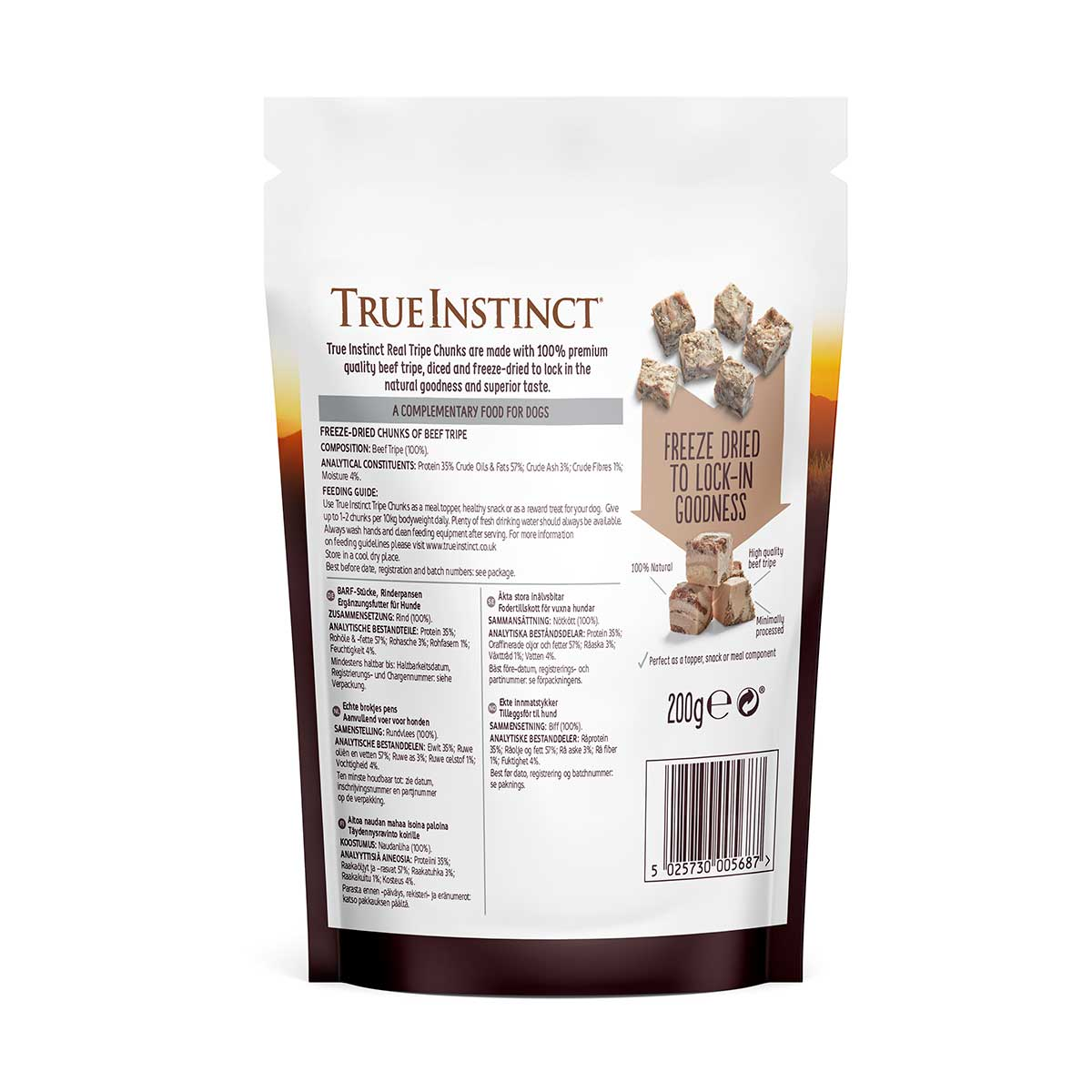 True Instinct Freeze-Dried Real Chunks Beef and Tripe Dog Treats 200g