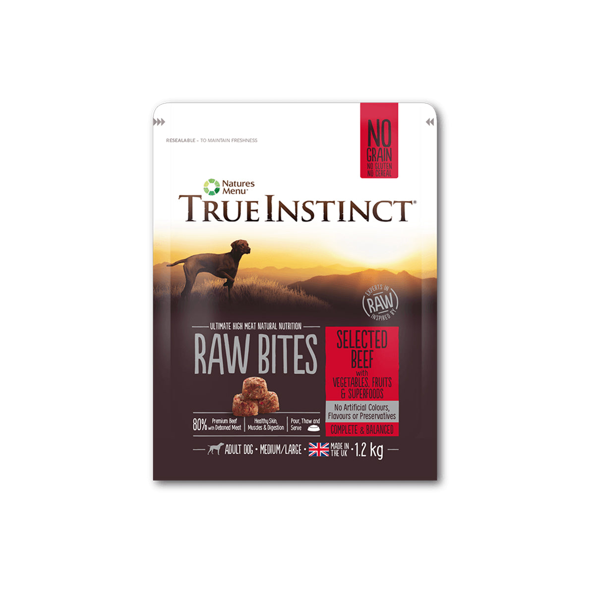 True Instinct/Natures Variety Raw Bites Selected Beef For Adult Dogs 1.2kg