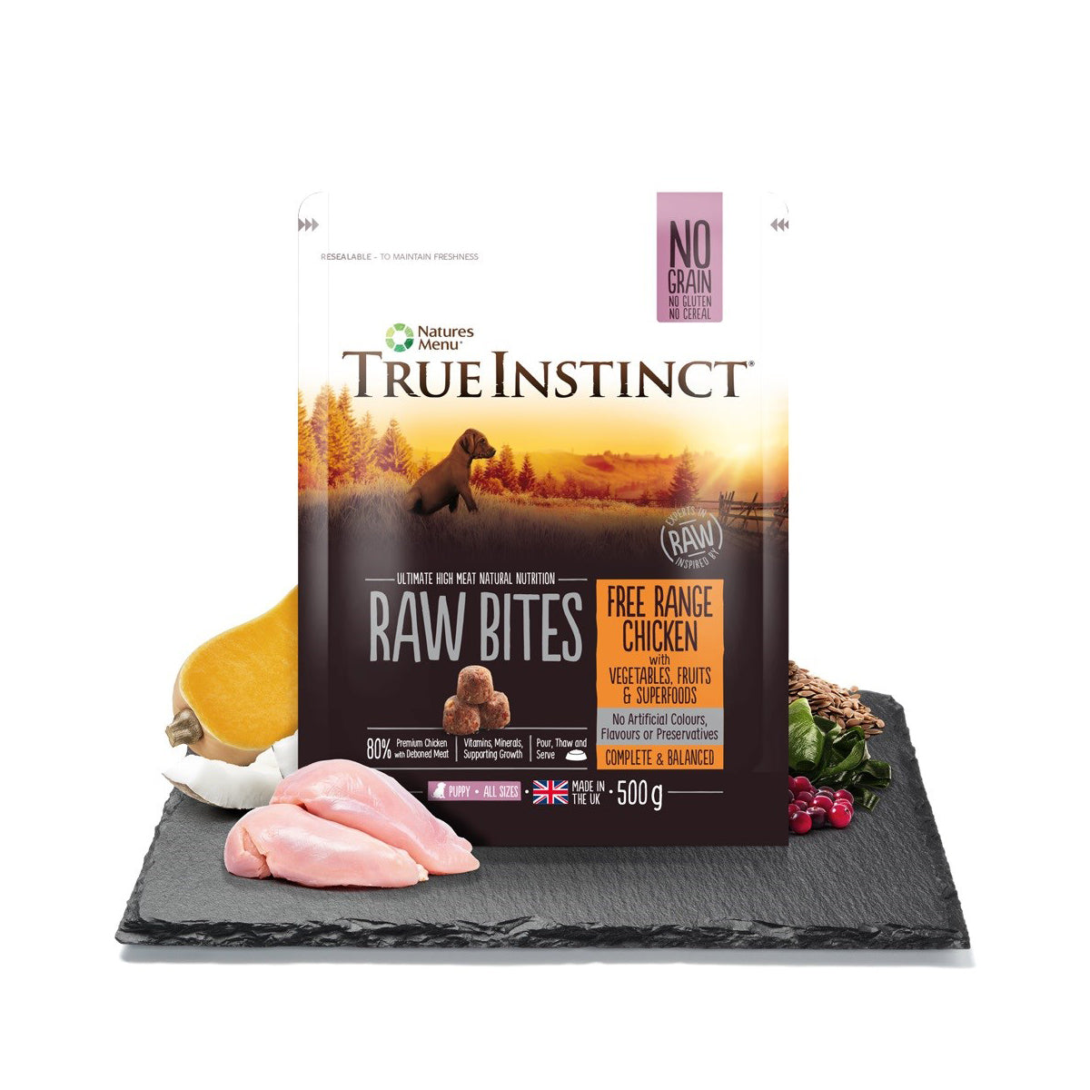 True Instinct/Natures Variety Raw Bites Free Range Chicken For Puppies 500g