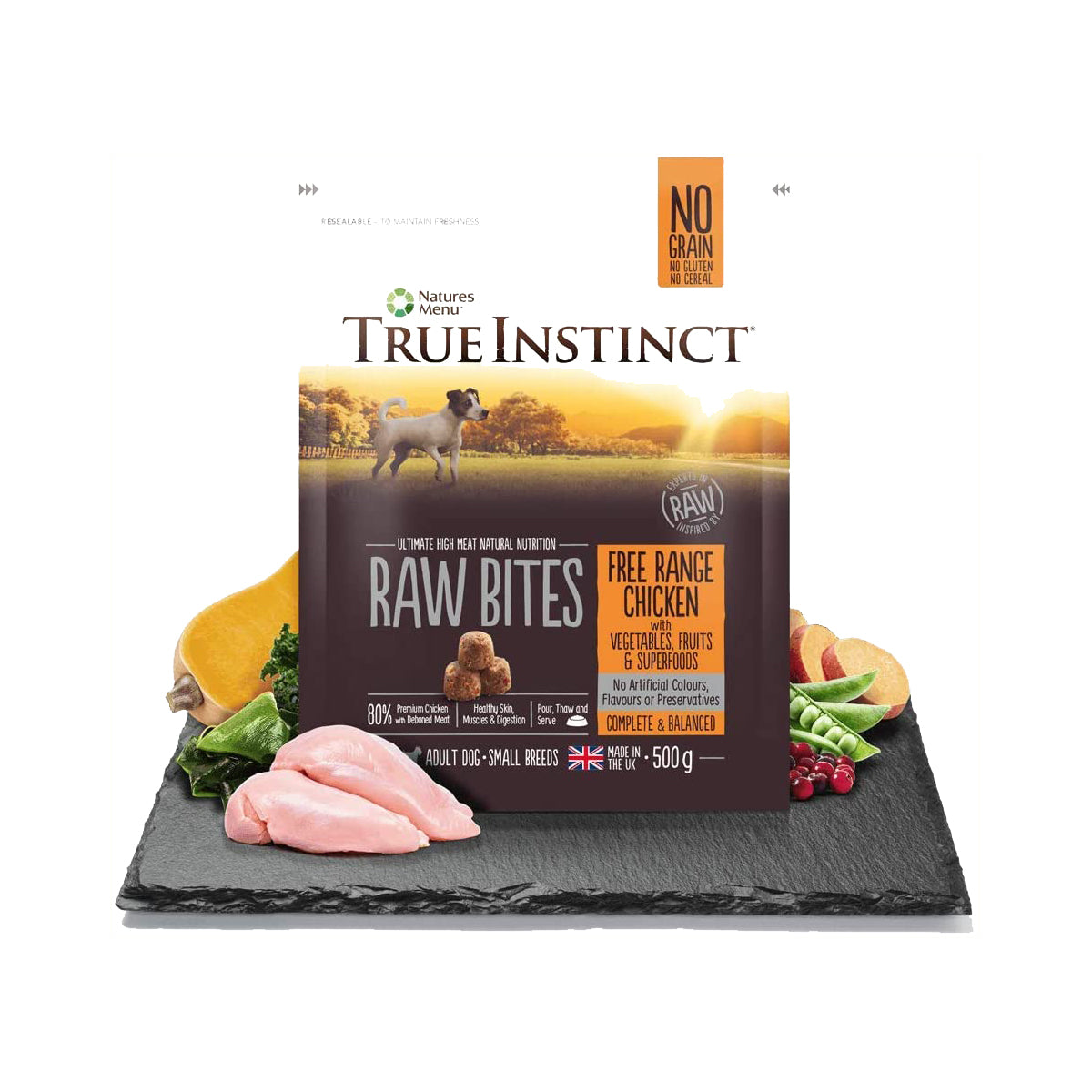True Instinct Raw Bites Free Range Chicken For Small Breed Dogs 500g