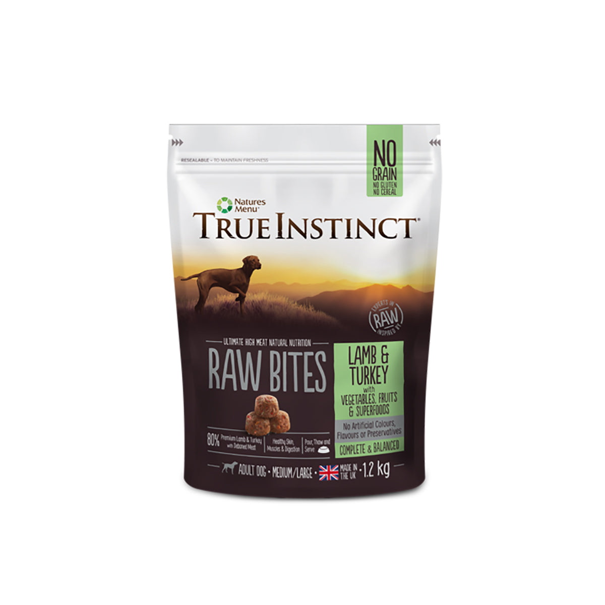 True Instinct Raw Bites Lamb And Turkey For Adult Dogs 1.2kg