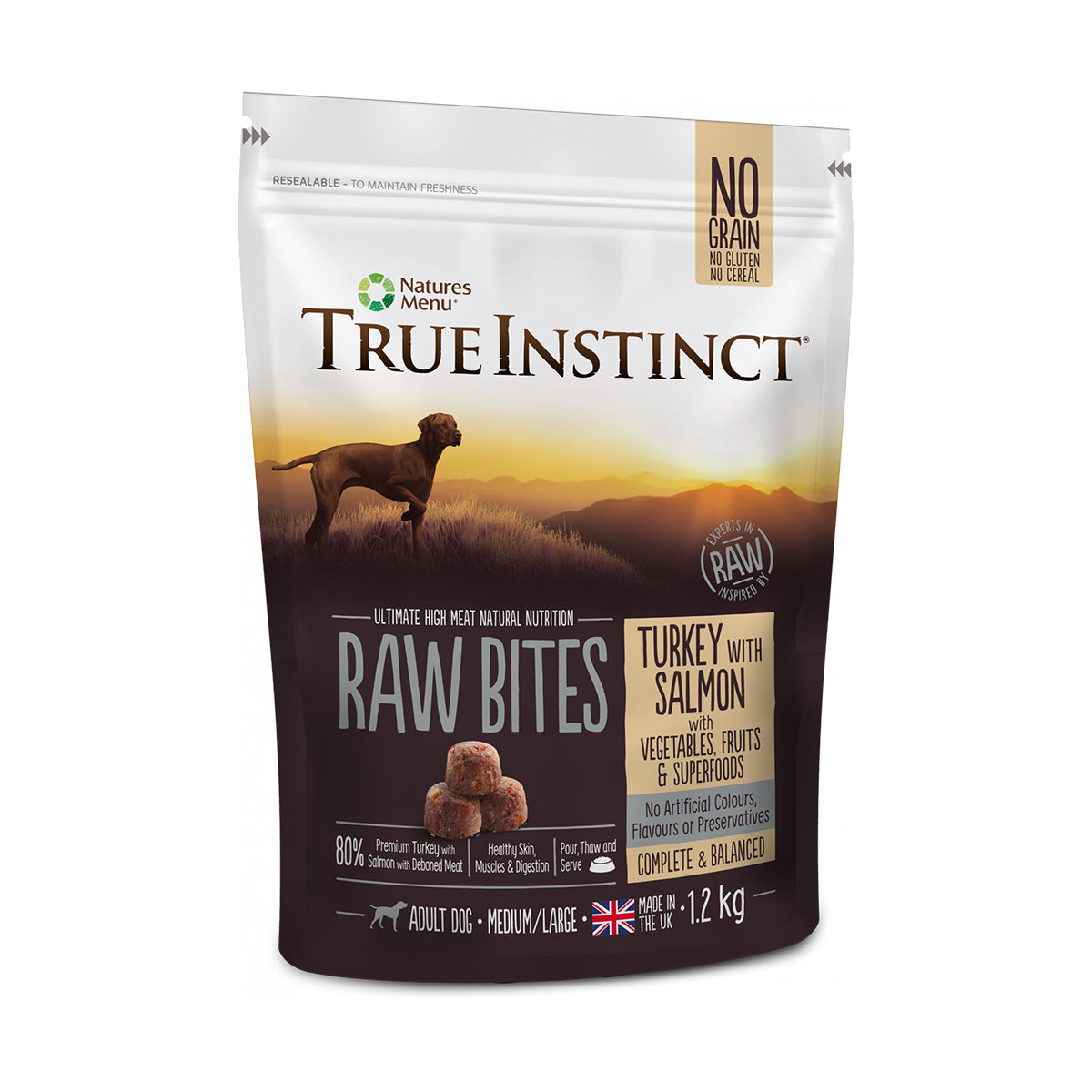 True Instinct/Natures Variety Raw Bites Turkey With Salmon For Adult Dogs 1.2kg