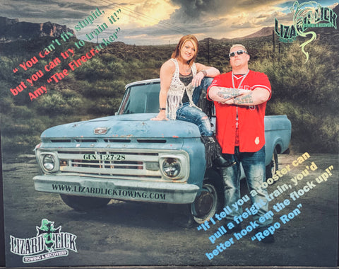 8X10 Photo of Ron & Amy Shirley Owners of Lizard Lick Towing