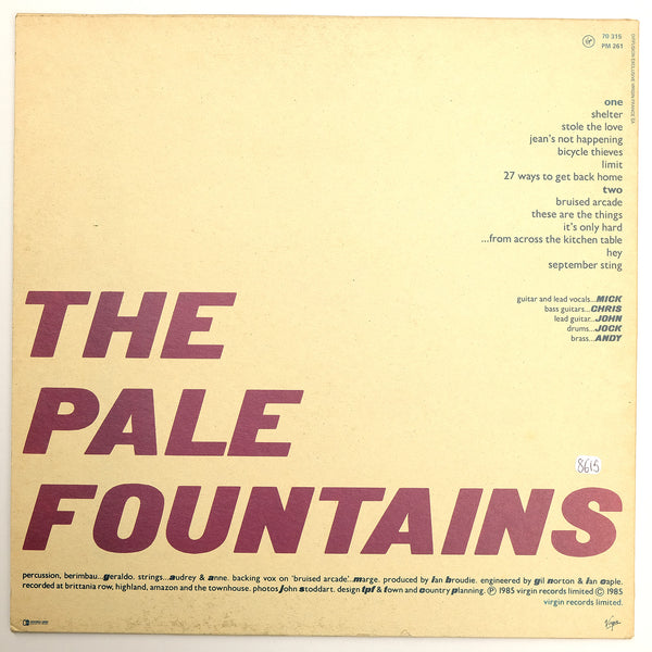The Pale Fountains, From Across The Kitchen Table